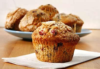 Muffins au miel, argousier et canneberges séchées